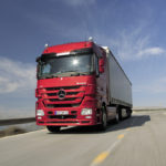 Euro 4 Actros tractor unit on the road