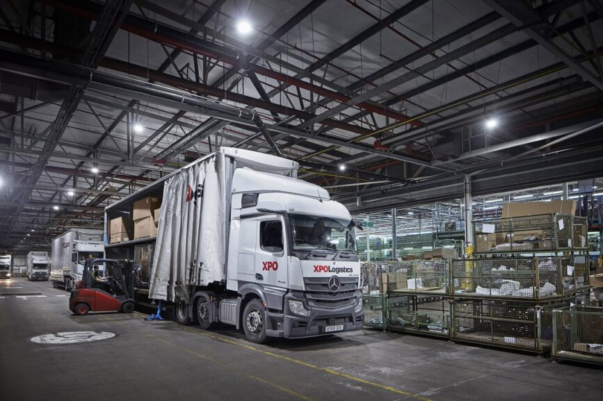 XPO Logistics Mercedes Actros and trailer loaded