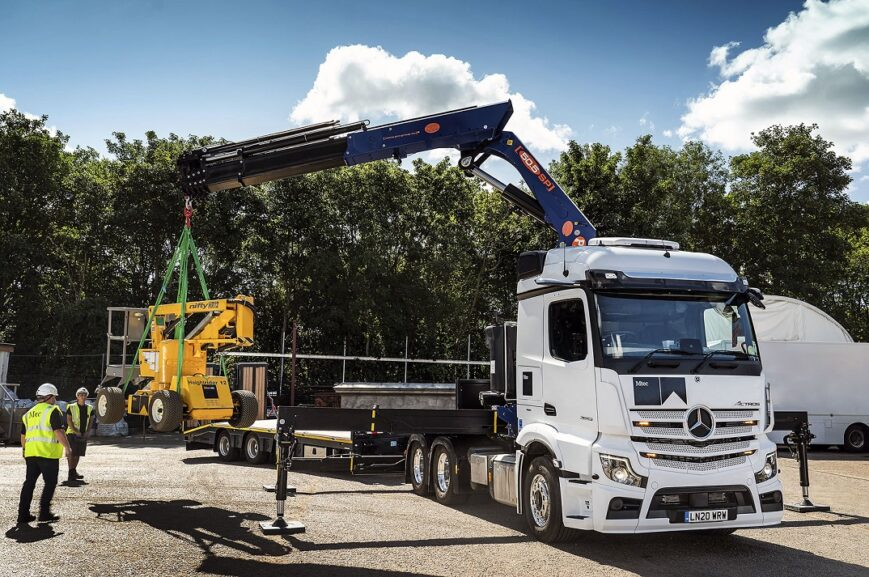 Mercedes Actros with crane and drawbar trailer 80 tonnes at work