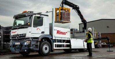 Mercedes Arocs crane truck in operation