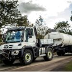 Mercedes Unimog Towing Milk Tanker Trailer