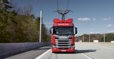 Scania overhead cable truck
